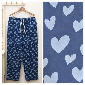 Men's or Unisex Blue Heart Print Pajama Bottoms